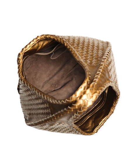 aa8b729a5615d Bottega Veneta Cervo Large Metallic Hobo Bag, Bronze