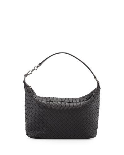 Small Zip Hobo Bag, Black