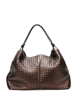 Bottega Veneta Large Metallic Cervo Shoulder Bag, Brown