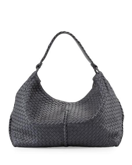 67b446604b8bb Bottega Veneta Cervo Large Metallic Shoulder Bag, Gunmetal