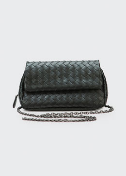 Bottega Veneta Woven Mini Crossbody Bag, Black
