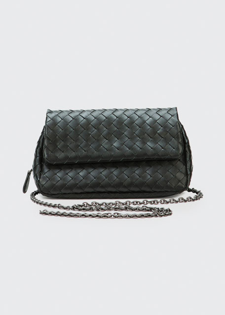 Intrecciato Small Chain Crossbody Bag, Black
