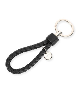 Bottega Veneta Braided Loop Key Ring, Black