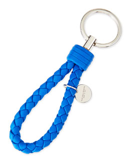 Bottega Veneta Braided Loop Key Ring, Cobalt Blue