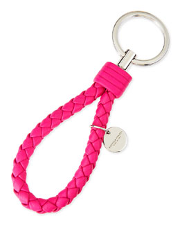 Bottega Veneta Braided Loop Key Ring, Hot Pink