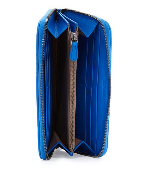 Intrecciato Continental Zip-Around Wallet, Cobalt Blue