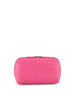 Bottega Veneta Intrecciato Medium Cosmetic Case, Hot Pink