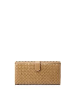 Bottega Veneta Woven Continental Flap-Tab Wallet, Sand