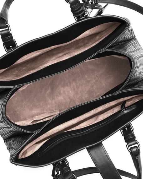 Roma Small Woven Compartment Tote Bag, Black