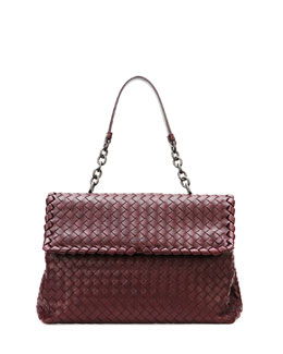 Bottega Veneta Olimpia Medium Woven Shoulder Bag, Dark Purple