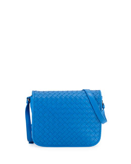 Bottega Veneta Small Woven Flap Crossbody Bag, Cobalt Blue