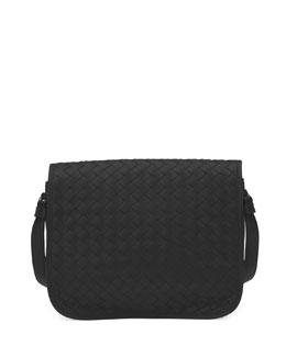 Bottega Veneta Small Woven Flap Crossbody Bag, Black