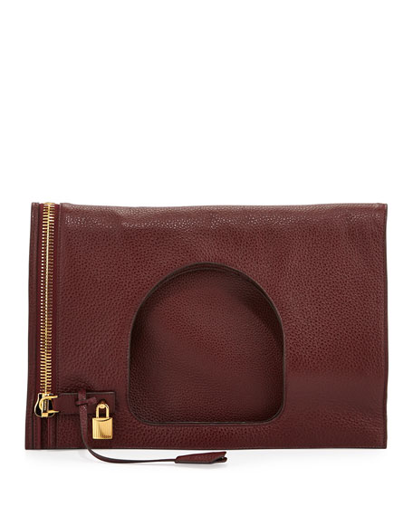 Alix Leather Padlock & Zip Fold-Over Bag, Red