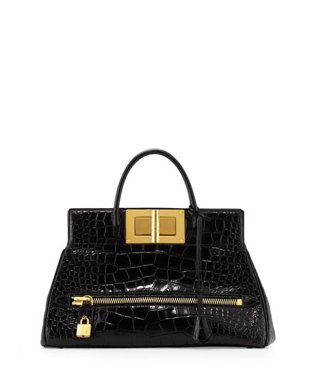 Natalia Alligator Doctor Bag, Black