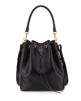 Saint Laurent Medium Bucket Shoulder Bag, Black