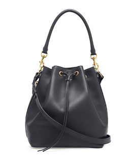 Saint Laurent Medium Bucket Shoulder Bag, Navy