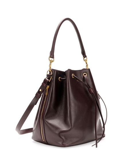 Medium Bucket Shoulder Bag, Bordeaux