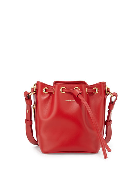 Small Bucket Crossbody Bag, Red