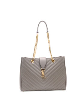 Saint Laurent Monogramme Matelasse Shopper Bag, Gray