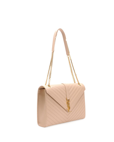 8be68fb977a Saint Laurent Monogram Matelasse Shoulder Bag, Dark Beige