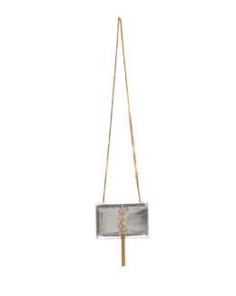 Saint Laurent Cassandre Small Metallic Python Crossbody Bag, Python