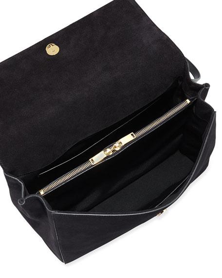 Moujik Large Suede & Leather Satchel Bag, Black