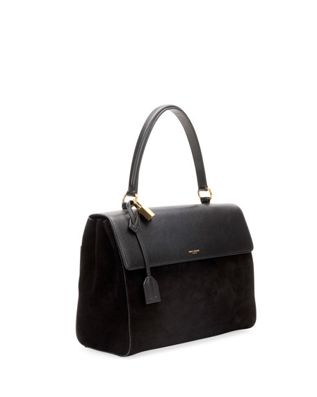 Moujik Large Suede & Leather Satchel Bag, Black