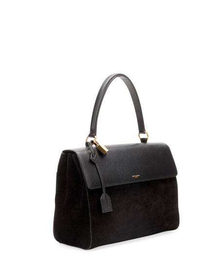 Saint Laurent Moujik Large Suede   Leather Satchel Bag, Black 6bf16851ca