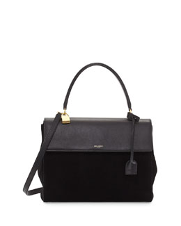 Saint Laurent Moujik Large Suede & Leather Satchel Bag, Black