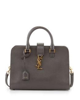 Saint Laurent Monogramme Small Zip-Around Satchel Bag, Gray