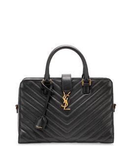 Saint Laurent Monogramme Small Matelasse Zip-Around Satchel Bag, Black