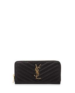Monogramme Matelasse Zip Wallet, Black