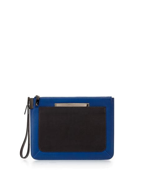 Ishi Small Leather Wristlet, Paris Blue