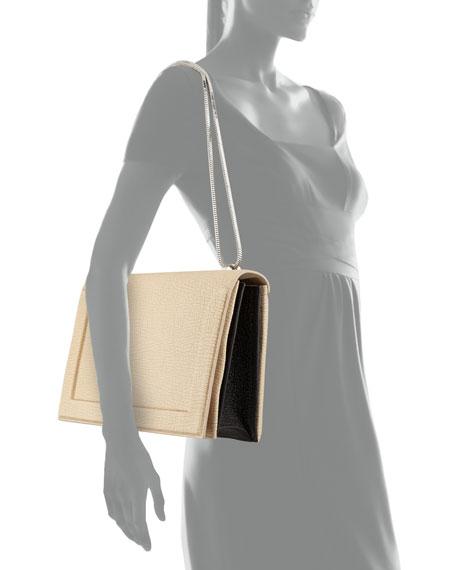 Soleil Flap Shoulder Bag, Nougat/Black