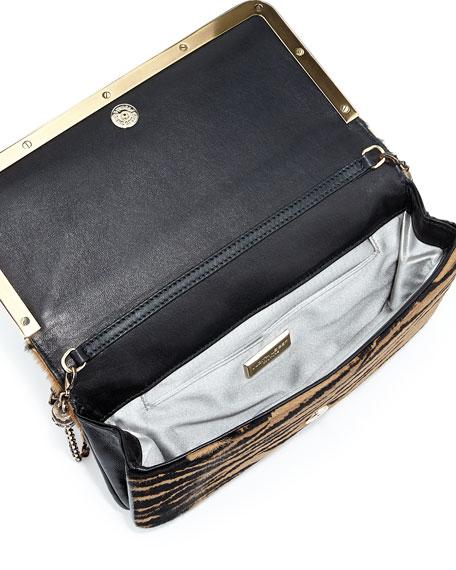 Carmichael Calf Hair Clutch Bag, Tan/Black