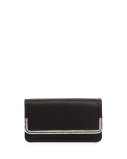 Judith Leiber Couture Lenox Satin Crystal-Trim Clutch Bag, Black