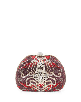 Judith Leiber Couture Curved Crystal Ornament Pouch, Burgundy