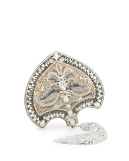 Judith Leiber Couture Punkah Fan Crystal Minaudiere, Champagne Multi