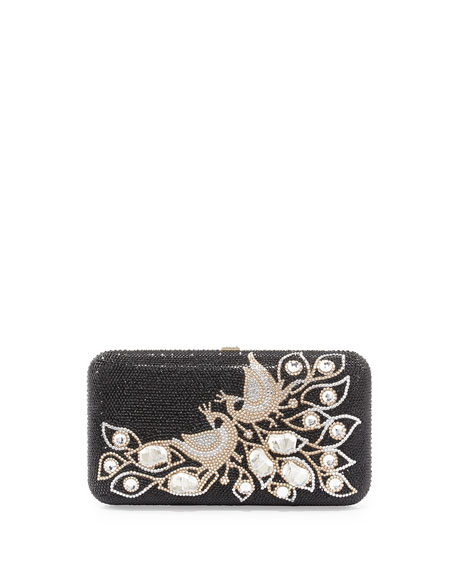 Smooth Rectangle Crystal Peacock Clutch, Jet Black Multi