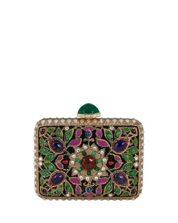 Judith Leiber Couture Jeweled Cabochon Rectangle Clutch Bag