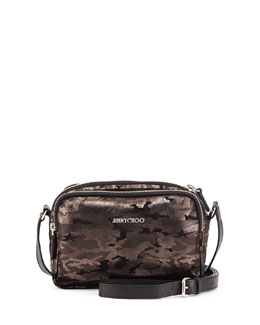 Jimmy Choo Opal Camo Zip-Around Crossbody Bag, Black/Gunmetal