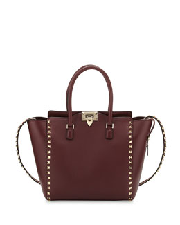 Valentino Rockstud Medium Shopper Bag, Bordeaux