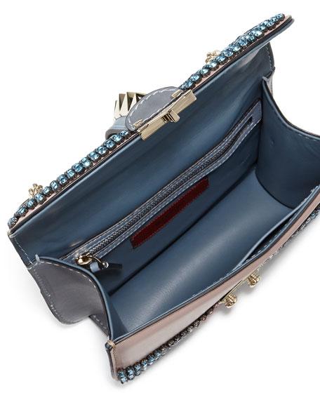 Glam Lock Crystal Shoulder Bag, Blue