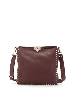 Valentino Rockstud Pebbled Messenger Bag, Bordeaux