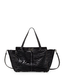 Valentino Noir Calf Hair Rockstud Tote Bag, Black