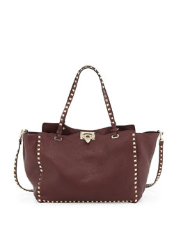 Valentino Rockstud Medium Grained Tote Bag, Bordeaux