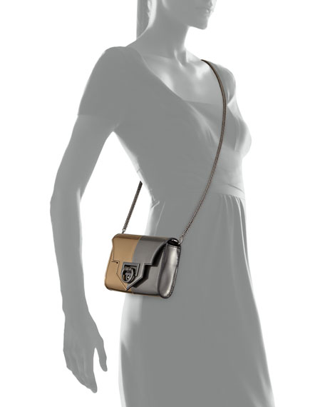 Rider Mini Metallic Crossbody Bag, Gunmetal/Gold