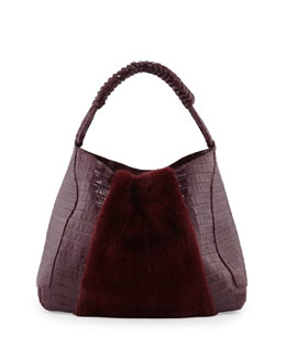 Nancy Gonzalez Mink Fur & Crocodile Hobo Bag with Braided Strap, Bordeaux