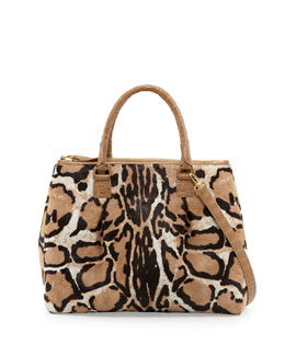 Nancy Gonzalez Double-Zip Leopard-Print Calf Hair Tote