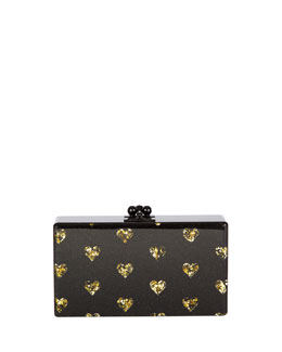 Edie Parker Jean Hearts Acrylic Clutch Bag, Black/Gold